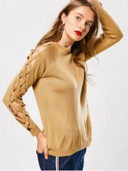 Full Crew Fashion Pullovers Pullover Strappy Sleeve Sweater