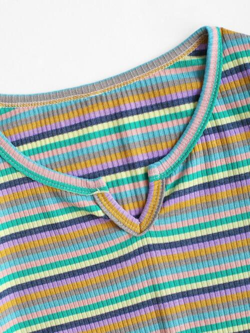 Full Sleeve Cotton,polyester Striped Multi V-notch Ribbed Colorful Long Sleeve Top Ladies