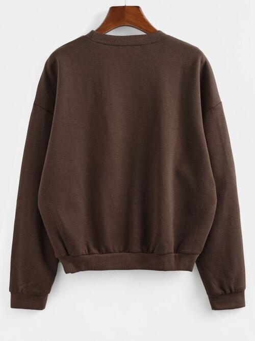 Full Sleeve Cotton,polyester Deep Coffee Regular Courage Graphic Pullover on Sale