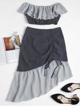 Fall and Spring and Summer Striped Pleated Zipper High Short Off Slim Elegant Beach Striped Off Shoulder Top Midi Skirt Set