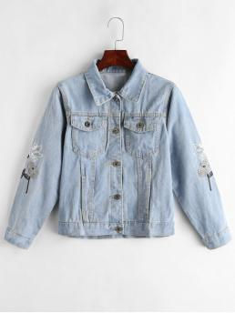 No Autumn and Spring Embroidery Floral Shirt Full Regular Slim Fashion Jackets Daily and Going Floral Embroidered Jean Jacket