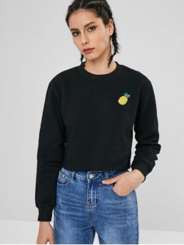 Autumn and Spring and Winter Embroidery Pineapple Full Short Round Sweatshirt Tropical Pineapple Embroidered Sweatshirt