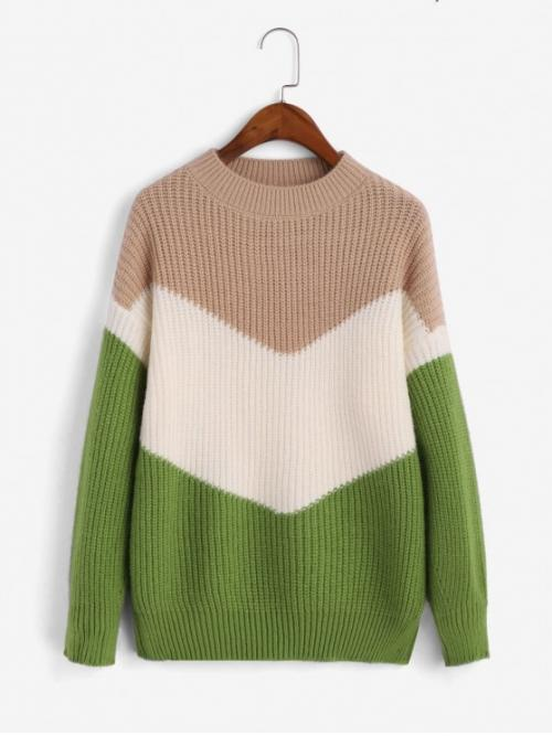 Autumn and Spring and Winter Patchwork Elastic Full Drop Mock Regular Regular Fashion Daily and Going Pullovers Mock Neck Colorblock Pullover Sweater