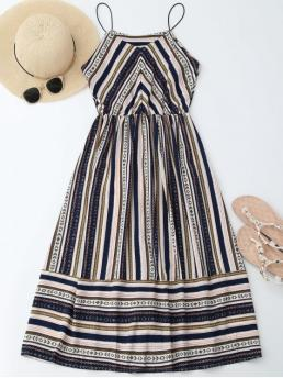 Summer No Striped Sleeveless Spaghetti Mid-Calf A-Line Causal Brief Elastic Waist Multi Stripes Sundress