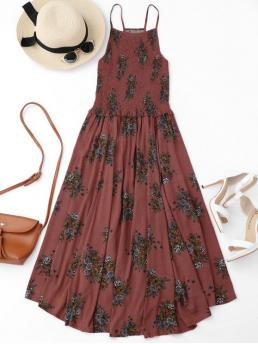 No Summer Floral Sleeveless High Mid-Calf A-Line Beach and Day and Vacation Fashion Floral A-Line Smocked Midi Dress