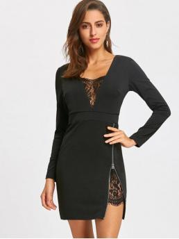 Fall and Spring No Others Lace Long Plunging Mini Bodycon Club and Holiday and Night Elegant Lace Trim Zip Side Mini Dress