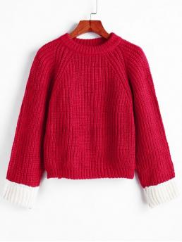 Shopping Full Sleeve Pullovers Cotton,polyester,polyurethane Patchwork Back Chunky Pullover Sweater