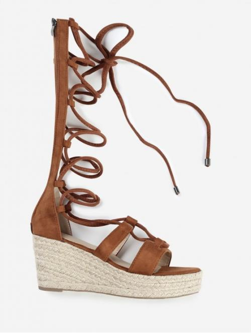 Suede Solid Lace-Up Wedge Gladiator Daily Fashion For Strappy Gladiator Mid Calf Espadrille Sandals