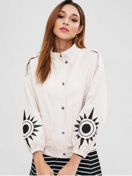 Geometric Stand-Up Full Regular Wide-waisted Fashion Jackets Embroidered Sleeve Twill Jacket