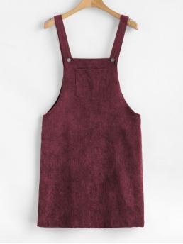 No Fall and Spring and Summer Solid Front Sleeveless Square Mini Pinafore A-Line Casual and Day Casual Front Pocket Corduroy Pinafore Dress