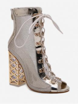 Mesh Rubber Lace-Up Patchwork 12CM Chunky Peep Ankle Spring/Fall and Summer Fashion For Peep Toe Lacing Chunky Heel Boots