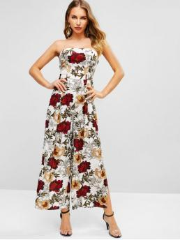 Summer No Slit Floral Nonelastic Sleeveless Strapless Normal Regular Fashion Daily and Going Floral Slit Wide Leg Strapless Jumpsuit