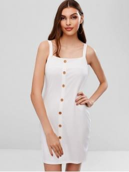 No Summer Elastic Solid Button Sleeveless Straps Mini Bodycon Day and Night Fashion Straps Buttoned Bodycon Mini Dress