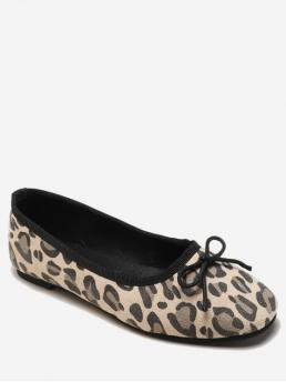 Spring/Fall and Summer Leopard Daily Fashion PU Suede Rubber Slip-On Square Closed For Slip-On Leopard Print Bowknot Flat Shoes