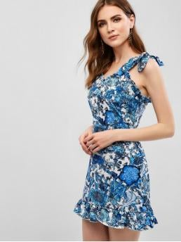 No Summer Nonelastic Floral Ruffles Sleeveless Straps Mini A-Line Vacation Fashion Floral Ruffles Tied Straps Mini Dress