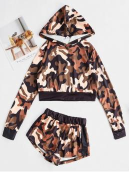 No Fall and Spring Camo Flat Elastic High Elastic Long Hooded Regular Fashion Casual and Daily and Going Two Piece Camouflage Cropped Hoodie And Shorts Set