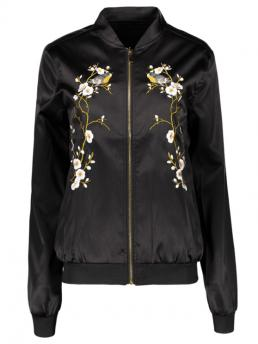 No Embroidery Floral Stand-Up Full Wide-waisted Fashion Jackets Embroidered Baseball Jacket