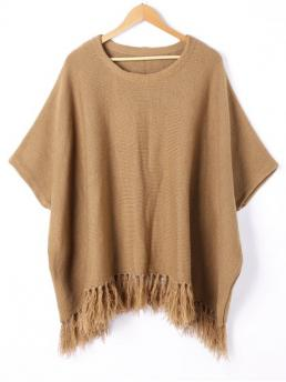 Fall and Spring Tassel Solid Casual Computer Round 1/2 Pullovers Tassel Trim Dolman Sleeve Sweater