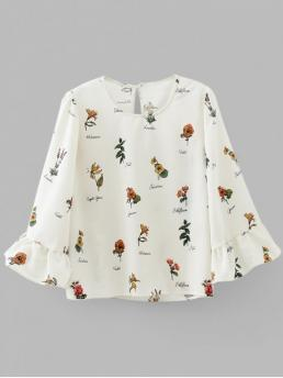 Autumn and Spring Embroidery and Ruffles Floral Full Regular Round Fashion Casual Keyhole Flouncy Sleeve Floral Blouse