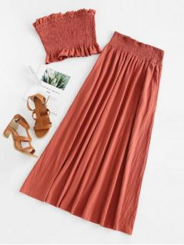 No Summer Solid Flat Elastic High Sleeveless Bandeau Loose Fashion Daily Smocked Bandeau Top and Maxi Skirt Set
