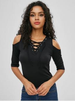 Autumn and Spring and Summer Solid Lace 1/2 V-Collar Regular Fashion Lace Up Cold Shoulder Top