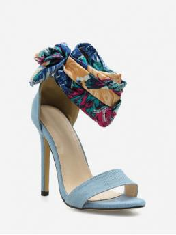 Summer PU Cloth PU Rubber Others Lace-Up Stiletto Ankle-Wrap Casual and Club and Daily Fashion For High Heel Bohemia Ribbon Strap Sandals