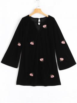 Fall No Floral Patch Long Keyhole Shift Mini Casual and Going Brief Flower Patched Flare Sleeve Keyhole Dress