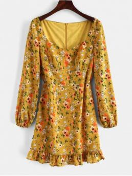 No Fall and Spring and Summer Floral Long Sweetheart Mini A-Line Day Fashion Empire Waist A Line Floral Print Mini Dress