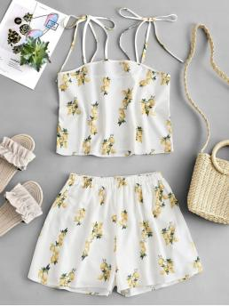 Summer Lemon Flat Elastic High Sleeveless Spaghetti Loose Casual Casual and Going Lemon Print Tied Wide Leg Shorts Set