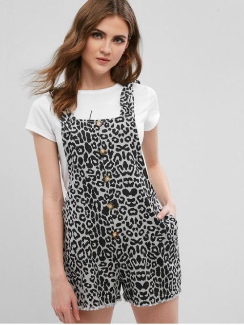 Summer No Button and Pockets Leopard Nonelastic Sleeveless Square Regular Casual Daily Leopard Knot Denim Shortalls