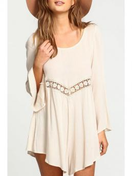 Summer No Solid Lace Long Round Asymmetrical Mini Casual Lace Spliced Flare Sleeve Dress