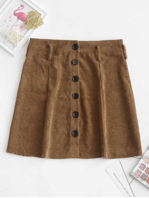 Fall Button Solid A-Line Mini Daily Leisure Button Up Mini Corduroy A Line Skirt
