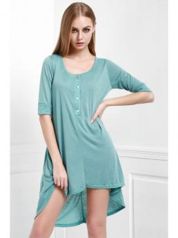 Fall and Spring No Solid 3/4 Scoop Mid-Calf A-Line Causal Casual Buttoned Scoop Neck Tee Dress