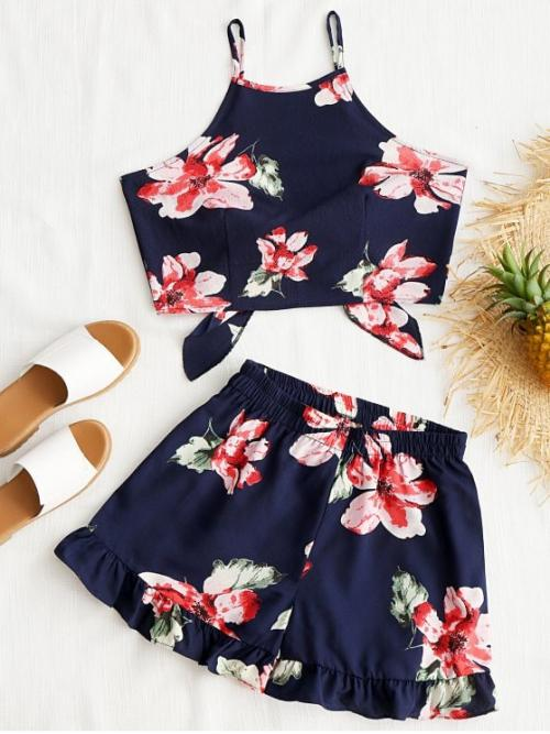 Summer Bowknot Floral Flat Elastic Mid Sleeveless Spaghetti Regular Casual Casual Floral Cami Crop Top with Shorts Set