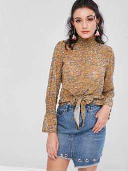 Ruffles and Tie Floral Full Flare Regular Stand-Up Casual Daily Bell Sleeves Knotted Floral Blouse