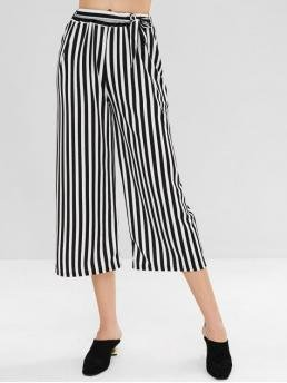 Summer Yes Elastic Wide Striped Loose High Fashion Wide Leg Stripe Belted Pants