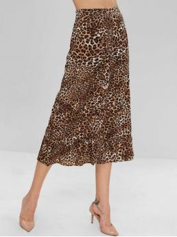 No Fall and Spring Button Ruffles Leopard Trumpet/Mermaid Maxi Daily and Going Fashion Button Up Ruffles Leopard Skirt