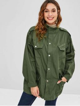 Autumn and Winter No Pockets Solid Zipper Stand-Up Full Regular Wide-waisted Daily and Going Fashion Drawstring Tunic Zip Pocket Coat