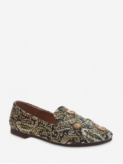 Fall and Spring Paisley Daily Vintage Synthetic Rubber Slip-On Square Closed 1CM For Slip-On Paisley Print Studded Loafers Flat