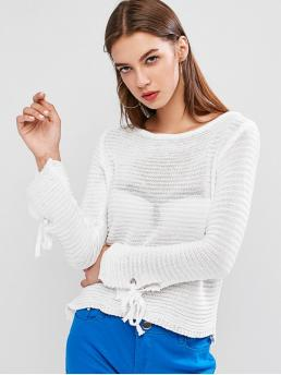 Autumn Solid Nonelastic Full Scoop Regular Regular Casual Daily Pullovers Scoop Neck Tie Cuffs Pullover Sweater