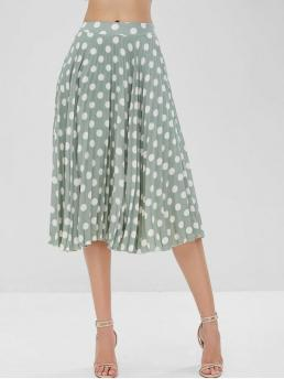 Fall and Spring and Summer Zipper Polka Pleated Mid-Calf Daily and Going Elegant Chiffon Pleated Polka Dot Midi Skirt