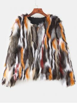 Winter No Others Round Full Regular Wide-waisted Fur Daily and Going Fashion Faux Fur Colorful Coat