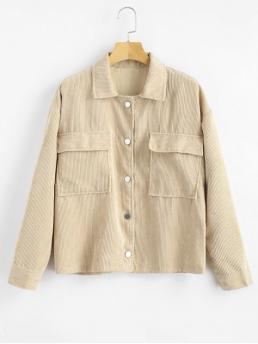 Pockets Solid Shirt Drop Full Regular Wide-waisted Casual Jackets Two Pockets Buttoned Corduroy Jacket