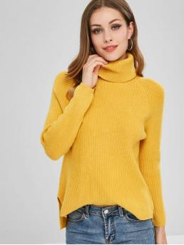 Autumn and Spring and Winter Slit Solid Elastic Full Turtlecollar Regular Regular Fashion Daily and Going Pullovers Ribbed High Low Turtleneck Sweater