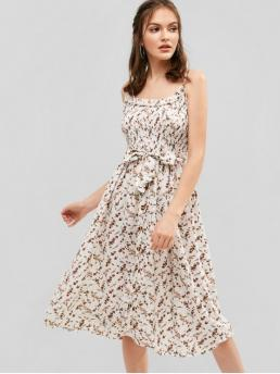 Yes Summer Nonelastic Floral Sleeveless Spaghetti Mid-Calf A-Line Vacation Fashion Belted Floral Smocked Cami Dress