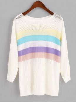Autumn and Spring and Winter Striped Elastic Three Drop Round Regular Regular Fashion Daily and Going Pullovers Pullover Pointelle Knit Colorful Stripes Sweater