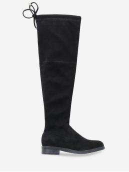 Suede Bow Slip-On Solid 4CM Chunky Round Over-the-Knee Winter Fashion For Low Heel Drawstring Over the Knee Boots