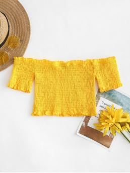 Summer Solid Short Short Off Fashion Daily and Festival Smocked Off The Shoulder Crop Top