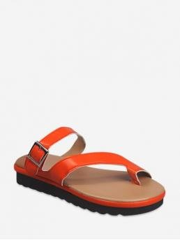 Summer PU 3CM Solid Slip-On Platform Slides Casual and Daily Leisure For Toe Loop Buckled PU Leather Slides