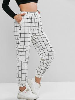 Fall Elastic Jogger Plaid Regular High Casual High Waist Plaid Jogger Pants